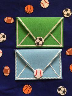 Sports themed felt envelope for Kids by DeCoitesDeCrafts on Etsy