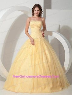 c43bc9bce9c Buy beautiful light yellow strapless tulle sweet sixteen dresses with  beading from discount quinceanera dresses collection