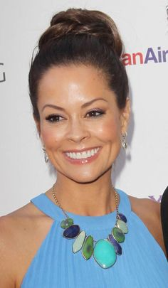 Brooke Burke in her Stella & Dot Serenity Stone Necklace and a soft blue dress