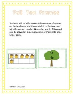 FREE - Fall Ten Frames (have kids count the acorns and match to the tree with a number & number word)