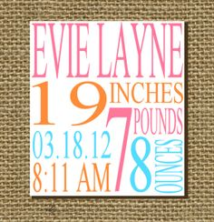 Items similar to Custom Birth Stats Print 8x10 - YOU PICK COLORS - Perfect Gift For A New Mom on Etsy
