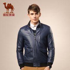 Camel men's clothing 2015 new business casual long-sleeved jacket lapel Slim solid color zipper jacket men