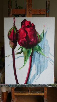 Sadevarjo akryyli kankaalle 60 cm x 80 cm Rose Buds, Paintings, Art, Art Background, Paint, Painting Art, Kunst, Performing Arts, Painting