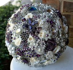 Peacock Brooch Bouquet   Purple Brooch Bouquet. Deposit on a made to order bridal bouquet ...