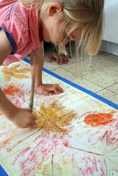 leaf rubbings and wax resist painting
