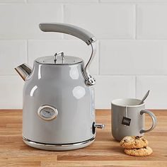 Retro 1.7L 3kW Grey Kettle | Dunelm Cord Storage, Craft Storage, White Kettle, Black Toaster, Canopy Bed Curtains, Kettle And Toaster, Navy And Copper, Kitchens