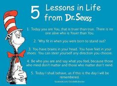 5 lessons in Life from Dr. Seuss INSPIRING and good for grammar work