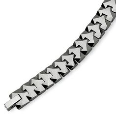 "Tungsten Polished Link 8.75 Inch Bracelet The Black Bow. $124.00. Measures 10mm wide by 8.75"" long. Average weight 79.69 grams. Tungsten is maintenance-free. Polished link design"