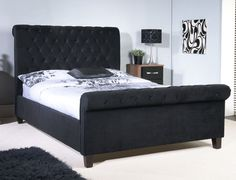 Limelight Orbit Double Black Velvet Fabric Bed Frame