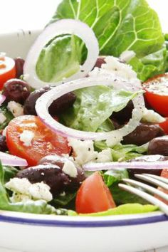 greek salad - I used these ingredients for a dressing (minus the stevia) on a salad of mixed greens, diced red pepper, red onion, garbanzo beans, green olives (I was out of black), diced beets (from a jar) and feta cheese.  This was excellent!