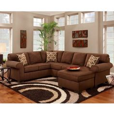 Lyke Home Brittney Chocolate Sectional (Brittney Chocolate Sectional) ($1,500) ❤ liked on Polyvore featuring home, furniture, sofas, brown, chocolate sectional, oversized chaise, oversized sectionals, brown chaise and chocolate brown couch