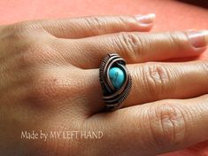 Wire Wrapped Turquoise And Copper Wire Ring by MadeByMyLeftHand