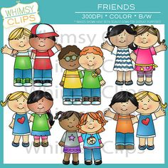 This cute and colorful friends clip art pack contains 20 images files, which includes 10 color images and 10 black and white images in both png and jpg formats. All images are 300dpi for better scaling and printing.