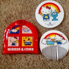 1976 hello kitty vintage mirror and comb set