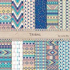 Tribal Digital Paper: Tribal Patterns in Pantone от Lunabludesign