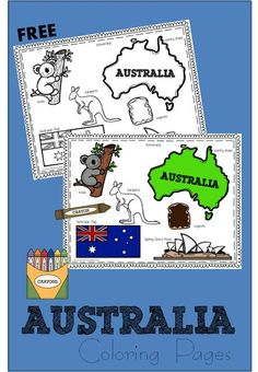 FREE Australia Coloring Pages perfect for celebrating Australia Day January 26 with toddler, preschool, kindergarten, and 1st grade