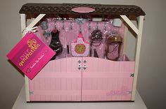 """Our Generation 18"""" Doll Wooden Horse Stable Furniture Fits 3 Horses AG Saige on eBay!"""