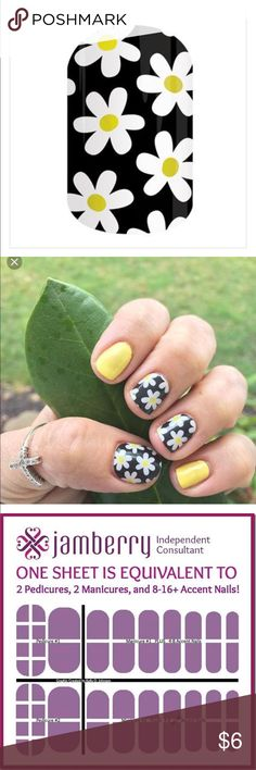 JAMBERRY: SIMPLY DAISY FULL OR HALF SHEET JAMBERRY: SIMPLY DAISY FULL SHEET GIVES YOU---  2 pedicures, 2 manicures and 8-16+ accent nails!     You may choose full or half sheet- if you want half sheet just select one of you want the full sheet choose our nail wraps are:  • Non-toxic  • 5-Free (Dibutyl Phthalate, Toluene, Formaldehyde, Formaldehyde Resin, or Camphor) • Easy to apply at-home • Requires ZERO dry time • Durable for long-lasting wear without chipping, peeling or fading Jamberry…