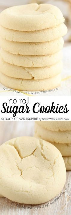 These no roll sugar cookies are delicious on their own or iced. These no roll sugar cookies are delicious on their own or iced. The dough requires no chilling and no rolling making them quick and easy! Rolled Sugar Cookie Recipe, Chewy Sugar Cookies, Ginger Cookies, Sugar Cookies Recipe, Yummy Cookies, Cookies Et Biscuits, Cookie Desserts, Cookie Recipes, Dessert Recipes