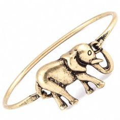 Rosanna's Brushed Metal Gold Elephant Latch Bracelet