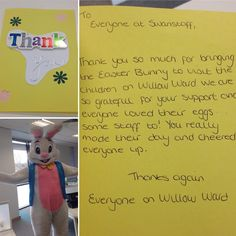 Lovely thank you note from Willow Ward at Darent Valley Hospital after our Easter bunny visited the children and staff! #dogoodfeelgood #nhs #hospital #hospitalvisit #childrenshospital #instagood #instadaily #smile #thanks #thankyou #thankyounote #SwanHappy #charity #easter #easterbunny #sweet #fun