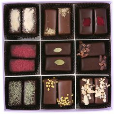 Vosges Chocolates  Owner/chocolatier Katrina Markoff has created some truly extraordinary chocolates. French trained, Katrina combines classic chocolate techniques with her love of world cuisines. You can find flavors of blood orange, Mexican chili, pumpkin, Hawaiian sea salt, and other exotics as well as classic hazelnut, fine honey, rich caramel, and more.