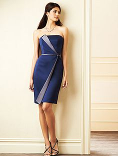 Sophisticated Alfred Angelo bridesmaids dress in Navy satin with Moonlight Waltz trim
