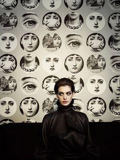 Anne Hathaway prints by Fornasetti, photo by Kurt Iswarienko. src