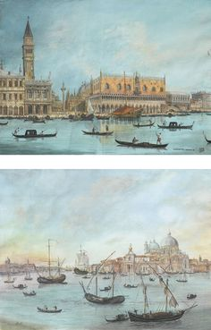 VENITIAN SCHOOL XIXTH CENTURY, VIEW OF SANTA MARIA DELLA SALUTE & VIEW OF THE PALAZZO DUCALE IN VENICE, GOUACHE, A PAIR, SIGNED ON ONE AND MONOGRAMED AND LOCATED ON THE OTHER