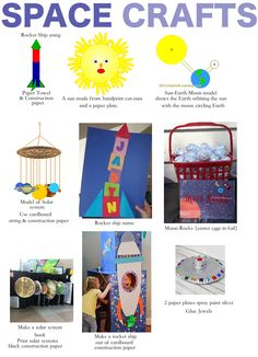 Space crafts ; solar system crafts http://www.frommrstomama.blogspot.com/2014/03/learning-with-toddlers-solar-system.html