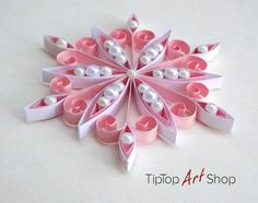 Quilled Snowflake Ornament for Seasonal Home Decor in Pink and White; First Christmas Gift Paper Snowflakes, Snowflake Ornaments, Christmas Ornaments, Angel Ornaments, Christmas Tree, Neli Quilling, Quilled Roses, Quilling Comb, Paper Quilling For Beginners