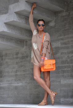neon orange satchel & heart nude oversized sweater