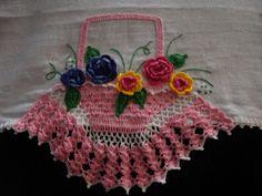 Val Crochês:  pano de prato cesta de croche com flores  pano de...