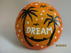 Painted rock DREAM  Relaxing tropical sunset picture with palm trees and hammock. Great fun gift for a relative or co-worker. I accept CUSTOM orders for any other message, picture or personalization (send me a Ask a Question message). Acrylic paints on river rock. Size of this rock : 2.5 x 2.5 inches, 1 inch tall Other sizes available per request.  Thank you for visiting my PlaceForYou shop. Please come back soon to see new items