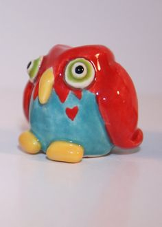 Idea for rattle project turned animal...Whimsical little clay owl in Red and bLue by HeartHomes on Etsy