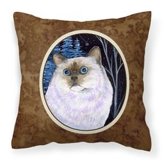 Caroline's Treasures SS8403PW1414 Starry Night Cat - Birman Decorative Canvas Fabric Pillow, 14Hx14W, multicolor Indoor or Outdoor pillow made of a heavy weight canvas. 14 inch x 14 inch 100% Polyester Fabric pillow Sham with pillow form. This pillow is made from our new canvas type fabric can be used Indoor or outdoor. Fade resistant, stain resistant and Machine washable.