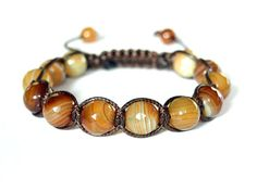 Brown Agate Bracelet Unique Adjustable Bracelet by CITBhandmade