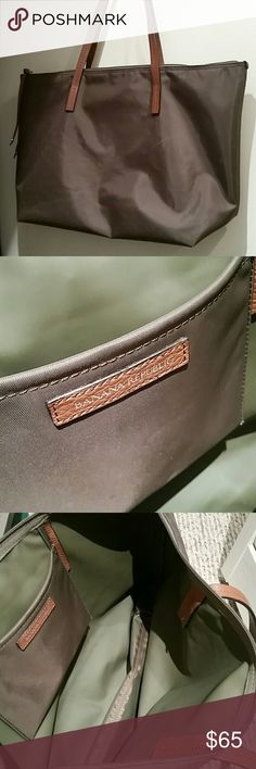"""Banana Republic tote with leather handles Army/olive green, measures about 16"""" wide and 12"""" length  This color ran out quick! Hurry and buy. Banana Republic Bags Satchels"""