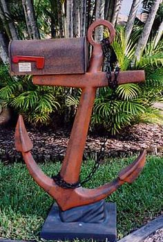 Salvaged Anchor Mailbox DIY for a Beach House in the garden w/o the mailbox of course! at Estate ReSale ReDesign, Bonita Springs, FL Coastal Homes, Coastal Living, Coastal Decor, Dream Beach Houses, Beach House Decor, Home Decor, Decor Room, Nautical Home, Nautical Anchor