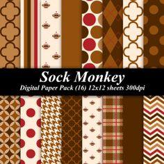 Sock Monkey Paper Pack (16) 12x12 sheets 300 dpi scrapbooking invitations sock monkey brown $3.50