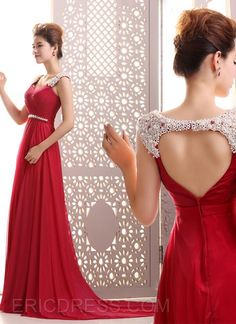 Courtlike A-Line Straps Pearls Beading Backless Court Train Long Evening Dress Evening Dresses 2015- ericdress.com 11183284