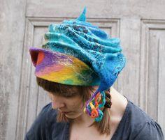 Unique fancy felted hat with little dreadlocks in by filcAlki, $69.00