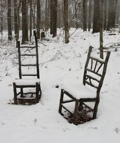 Rustic chairs in the snow
