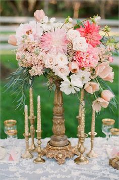 pink and gold floral centerpieces
