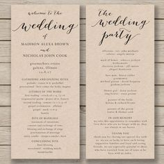Printable Wedding Program Order Of Service Template  Wedding