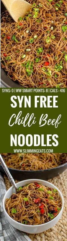 Slimming Eats Syn Free Chilli Beef Noodles - gluten free, dairy free, slimming world and weight watchers friendly