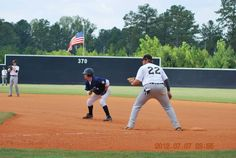 Taking a lead at 1st at the Perfect Game Showcase in East Cobb, GA July 2012