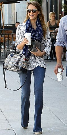 Take a style tip from Jessica Alba by mixing a polka dot top with a polka dot scarf for a really playful result.