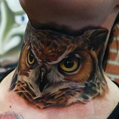 Realistic Owl Neck Tattoo