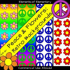 Ready to go retro with your classroom products? This collection of brightly colored peace sign and flower backgrounds is sure to liven up any classroom, worksheet, or TeachersPayTeachers Product!